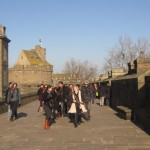 Walking along the fortifications of St. Malo's old city.