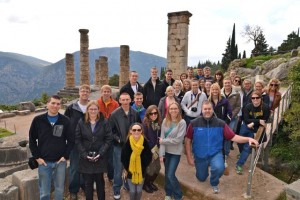 The group in front of the ruins of the Temple of Apollo