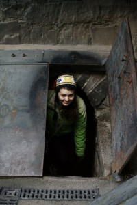 Laura Herbers in the vaults of St. Michan's Church. Photo by Annie Galloway.