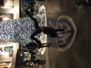Mal doing a handstand on the Warner brothers logo