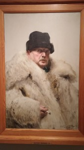 Self portrait of Anders Zorn in his wolf coat. We saw the real coat hanging in the house.