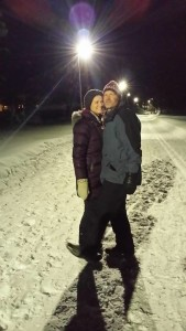 Jeff and I enjoying nightlife in Jokkmokk, a walk around the lake.